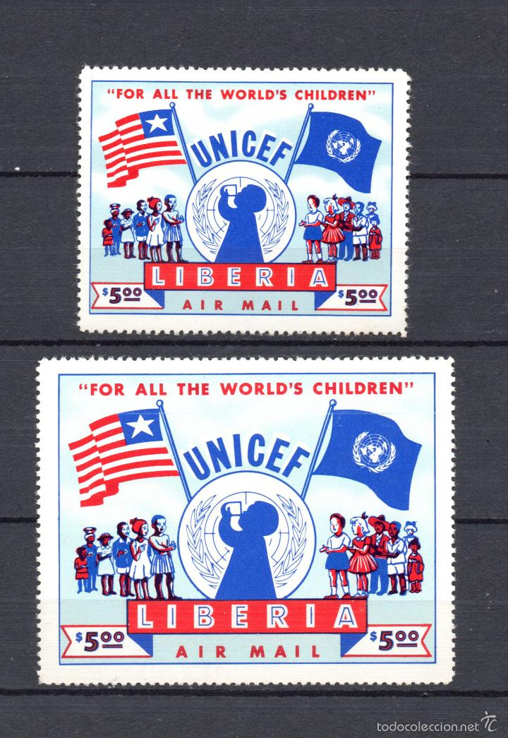 LIBERIA AEREO 75A/75B* - AÑO 1954 - UNICEF (Sellos - Extranjero - África - Liberia)