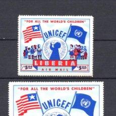Sellos: LIBERIA AEREO 75A/75B* - AÑO 1954 - UNICEF. Lote 59191990