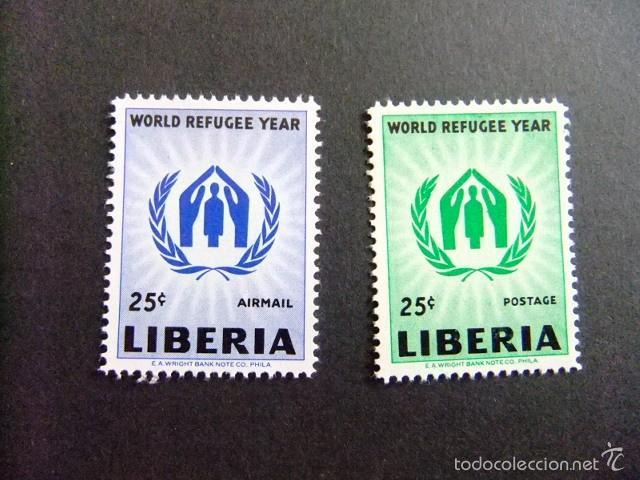 LIBERIA 1960 ANNÉE MONDIALE DU RÉFUGIÉ YVERT Nº 366 + PA 120 ** MNH (Sellos - Extranjero - África - Liberia)