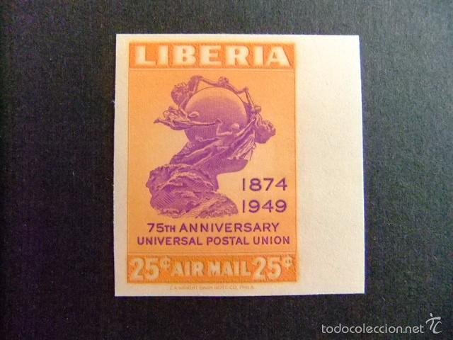LIBERIA 1950 75º ANNIVERSAIRE DE UPU YVERT Nº PA 62 ** MNH NON DENTELÉ (Sellos - Extranjero - África - Liberia)