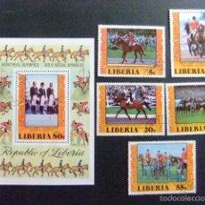 Sellos: LIBERIA 1977 MÉDAILLES D´OR JEUX OLYMPIQUES DE MONTRÉAL YVERT Nº 742 / 45 + BLOC 85 º FU . Lote 60393359