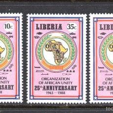 Sellos: LIBERIA 1091/93** - AÑO 1988 - 25º ANIVERSARIO DE LA ORGANIZACION DE LA UNIDAD AFRICANA. Lote 60739587