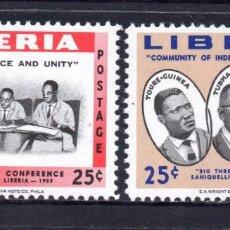 Sellos: LIBERIA 365 Y AEREO 119** - AÑO 1960 - CONFERENCIA DE PRESIDENTES AFRICANOS. Lote 60739803