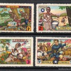Sellos: LIBERIA 287/90** - AÑO 1949 - HISTORIA DE LIBERIA - AMOR A LA LIBERTAD. Lote 60896291