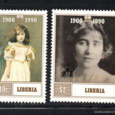 Sellos: LIBERIA 1207/08** - AÑO 1990 - 90º ANIVERSARIO DE LA REINA MADRE. Lote 61051423