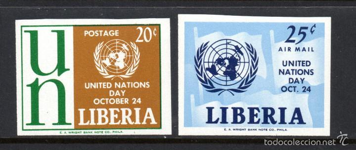 LIBERIA 381 Y AÉREO 134** - SIN DENTAR - AÑO 1962 - DÍA DE NACIONES UNIDAS (Sellos - Extranjero - África - Liberia)