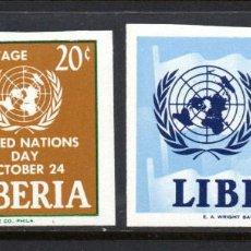 Sellos: LIBERIA 381 Y AÉREO 134** - SIN DENTAR - AÑO 1962 - DÍA DE NACIONES UNIDAS. Lote 61052099