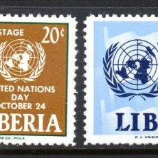 Sellos: LIBERIA 381 Y AÉREO 134** - AÑO 1962 - DÍA DE NACIONES UNIDAS. Lote 61052159