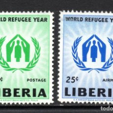 Sellos: LIBERIA 366 Y AÉREO 120** - AÑO 1960 - AÑO MUNDIAL DEL REFUGIADO. Lote 61784880