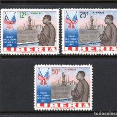 Sellos: LIBERIA AEREO 130/32** - AÑO 1962 - VISITA DEL PRESIDENTE TUBMAN A ESTADOS UNIDOS. Lote 61785132