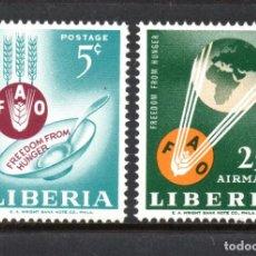 Sellos: LIBERIA 385 Y AEREO 139** - AÑO 1963 - CAMPAÑA MUNDIAL CONTRA EL HAMBRE. Lote 62042064
