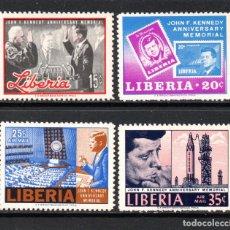 Sellos: LIBERIA 425/26 Y AEREO 151/52** - AÑO 1966 - MEMORIAL DEL PRESIDENTE KENNEDY. Lote 131943563
