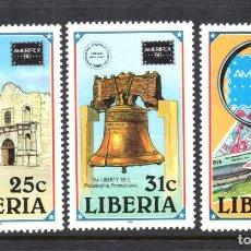 Sellos: LIBERIA 1032/34** - AÑO 1986 - EXPOSICION FILATELICA INTERNACIONAL AMERIPEX 86 - MONUMENTOS. Lote 71517647