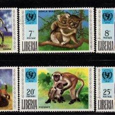 Sellos: LIBERIA 542/47 - AÑO 1971 - FAUNA - ANIMALES SALVAJES - 25º ANIVERSARIO DE UNICEF. Lote 79837925
