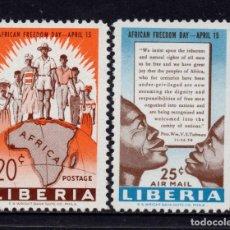 Sellos: LIBERIA 361 Y AÉREO 116** - AÑO 1959 - DÍA DE LA LIBERTAD EN AFRICA. Lote 79838069