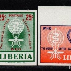 Sellos: LIBERIA 380 Y AÉREO 133** - SIN DENTAR - AÑO 1962 - ERRADICACIÓN DEL PALUDISMO. Lote 79838229