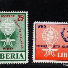 Sellos: LIBERIA 380 Y AÉREO 133** - AÑO 1962 - ERRADICACIÓN DEL PALUDISMO. Lote 79838293