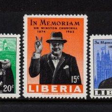 Sellos: LIBERIA 410/11 Y AÉREO 150** - AÑO 1965 - MUERTE DE SIR WINSTON CHURCHILL. Lote 79838441