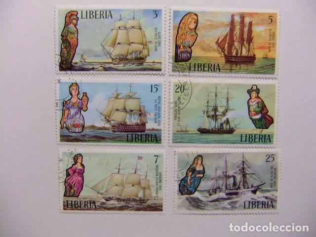 LIBERIA 1972 ANTIGUOS BARCOS YVERT 579 / 584 º FU (Sellos - Extranjero - África - Liberia)