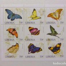 Sellos: LIBERIA 1996 FAUNA MARIPOSAS PAPILLONS YVERT 1310 / 1318 ** MNH. Lote 80786942