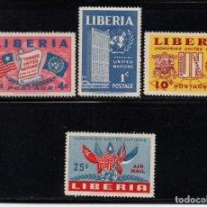Sellos: LIBERIA 315/17 Y AÉREO 66* - AÑO 1953 - HOMENAJE A NACIONES UNIDAS. Lote 83451472