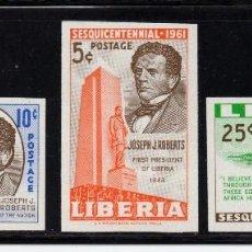 Sellos: LIBERIA 375/76 Y AEREO 127** SIN DENTAR - AÑO 1961 - 150º ANIV. DEL NACIMIENTO DE JOSEPH J. ROBERTS. Lote 83451592