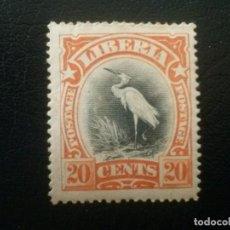 Sellos: LIBERIA , YVERT Nº 89 * CHARNELA, ALGO DE ÓXIDO, 1906 FAUNA AVES. Lote 89375384