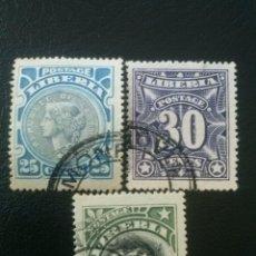 Sellos: LIBERIA , YVERT Nº 90, 91 Y 92 , 1906. Lote 89375884