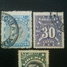 Sellos: LIBERIA , YVERT Nº 90, 91 Y 92 , 1906. Lote 89376132