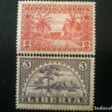 Sellos: LIBERIA , YVERT Nº 114 - 115 * SERIE COMPLETA CON CHARNELA , 1915. Lote 89379572