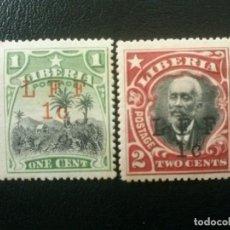 Sellos: LIBERIA , YVERT Nº 129 - 130 * CHARNELA , 1916 . Lote 89381016