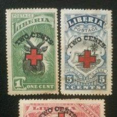 Sellos: LIBERIA , YVERT Nº 153 , 154 + 155 * CHARNELA , 1918 CRUZ ROJA. Lote 89382868