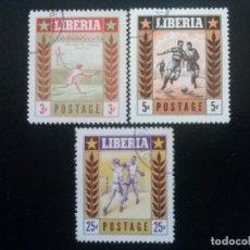 Sellos: LIBERIA , YVERT Nº 325 - 327, SERIE COMPLETA 1955 DEPORTES. Lote 89535052
