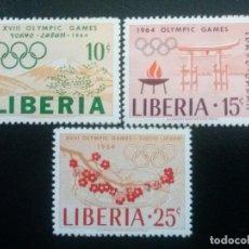 Sellos: LIBERIA , YVERT Nº 396 - 398 ** SERIE COMPLETA SIN CHARNELA 1964 DEPORTES. Lote 89535416