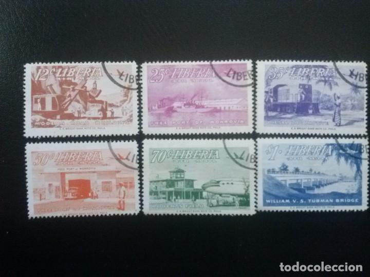 LIBERIA , CORREO AÉREO ,YVERT Nº 67 - 72 , SERIE COMPLETA 1953 TRENES AUTOMÓVILES (Sellos - Extranjero - África - Liberia)