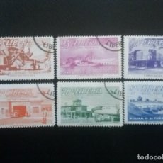 Timbres: LIBERIA , CORREO AÉREO ,YVERT Nº 67 - 72 , SERIE COMPLETA 1953 TRENES AUTOMÓVILES. Lote 89535860