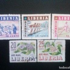 Sellos: LIBERIA , CORREO AÉREO ,YVERT Nº 86 - 88 + 89 - 90 , 2 SERIES COMPLETAS 1955. Lote 89536008