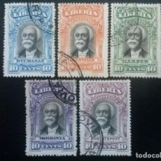 Francobolli: LIBERIA , CARTAS REGISTRADAS ,YVERT Nº 10 - 14 , SERIE COMPLETA , 1903. Lote 89537220
