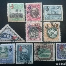 Sellos: LIBERIA , SERVICIO OFICIAL ,YVERT Nº 59 - 68 SERIE COMPLETA SIN Nº 69, 1909-12. Lote 89542276