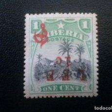 Sellos: LIBERIA , SERVICIO OFICIAL ,YVERT Nº 84 B , SOBREC. INVERTIDA, 1916. Lote 89543228