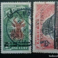 Sellos: LIBERIA , SERVICIO OFICIAL ,YVERT Nº 103 - 104 , SERIE COMPLETA , 1920 FAUNA. Lote 89544324