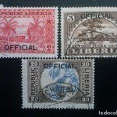 Sellos: LIBERIA , SERVICIO OFICIAL ,YVERT Nº 105 - 107 , SERIE COMPLETA , 1921. Lote 89544472