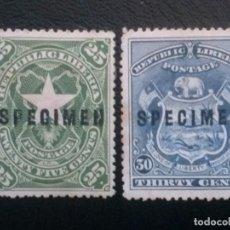 Sellos: LIBERIA , YVERT Nº 47 - 48 , SIN GOMA, SPECIMEN , 1896. Lote 89549076