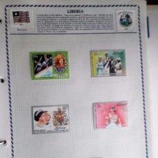 Sellos: LIBERIA, 3 HOJAS CON 18 SELLOS DIFERENTES USADOS, CON CHARNELAS. Lote 94137895