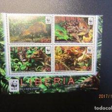 Sellos: LIBERIA 2011 WWF 4 VALORES NUEVO. Lote 101762215