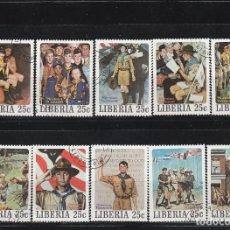 Francobolli: LIBERIA 1979 - MICHEL NRO. 1139-48 - NORMAN ROCKWELL-MATASELLADO DE FAVOR - VER ESQUINA NRO. 1144. Lote 112632067