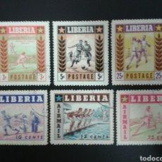 Sellos: LIBERIA. YVERT 325/7 + A-86/8. SERIE COMPLETA USADA. DEPORTES. TENIS. BOXEO. NATACIÓN. BÉISBOL. Lote 117080958
