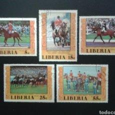 Sellos: LIBERIA. YVERT 742/5 + A-156. SERIE COMPLETA USADA. DEPORTES. HÍPICA. CABALLOS. Lote 117081000