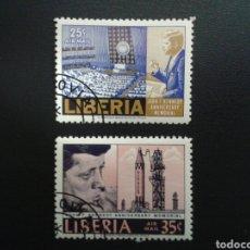 Sellos: LIBERIA. YVERT A-151/2. SERIE COMPLETA USADA. J.F. KENNEDY. Lote 117081532