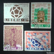 Sellos: LIBERIA. YVERT 497/90. SERIE COMPLETA USADA. DEPORTES. MUNDIAL FÚTBOL MÉXICO 70.. Lote 117173467